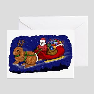 Rabbit Christmas Sleigh Greeting Cards (Pk of 10)