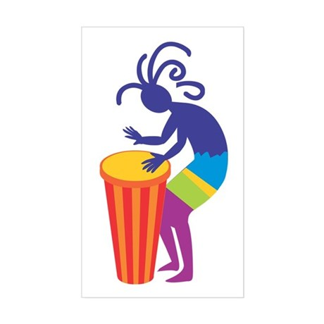 Kokopelli Drum Rectangle Sticker