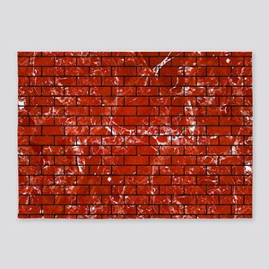 BRICK1 BLACK MARBLE & RED MARBLE (R 5'x7'Area Rug