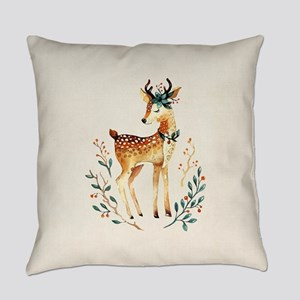 Small Deer with Flowers in her Ant Everyday Pillow