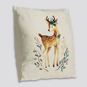 Small Deer with Flowers in her Burlap Throw Pillow