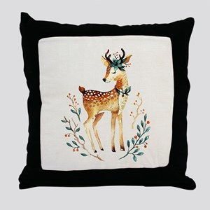 Small Deer with Flowers in her Antler Throw Pillow