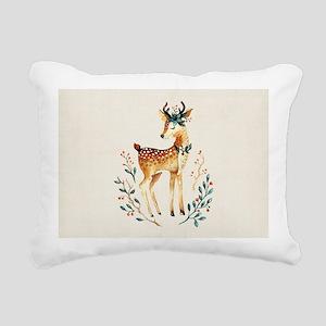 Small Deer with Flowers Rectangular Canvas Pillow