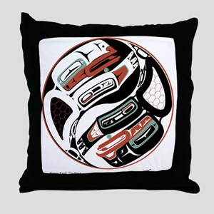 Eagle Raven Yin-Yang Throw Pillow
