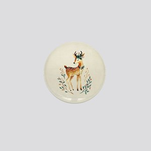 Small Deer with Flowers in her Antlers Mini Button