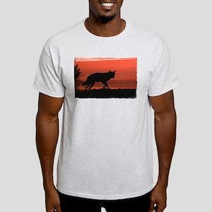 Sunset Wolf Ash Grey T-Shirt