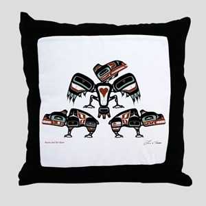 Raven & Her Bears Throw Pillow