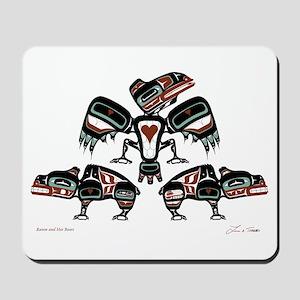 Raven & Her Bears Mousepad