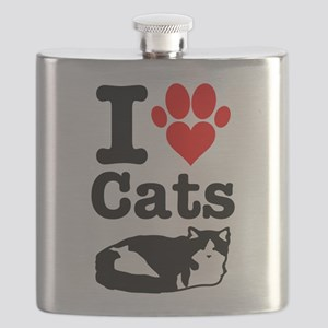 I Heart Cats Flask
