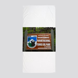 Torres del Paine Sign, Chile Beach Towel