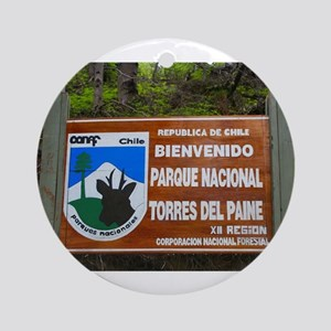 Torres del Paine Sign, Chile Round Ornament