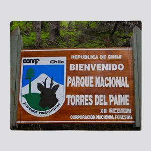 Torres del Paine Sign, Chile Throw Blanket
