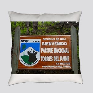 Torres del Paine Sign, Chile Everyday Pillow