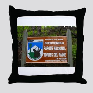 Torres del Paine Sign, Chile Throw Pillow