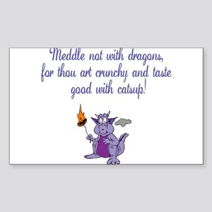 Meddle not (purple dragon) Rectangle Sticker