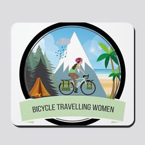 Bicycle Travelling Women all weather Mousepad