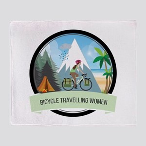 Bicycle Travelling Women all weather Throw Blanket