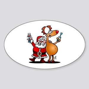 Santa Claus and his Reindeer Sticker