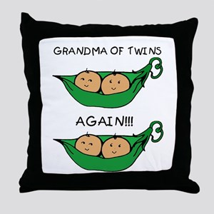 Grandma of Twins Again Throw Pillow