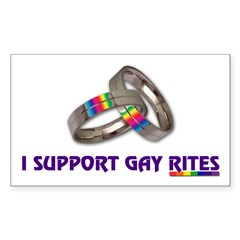 I SUPPORT GAY RITES Rectangle Decal