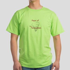 Papa of Twinadoes Green T-Shirt
