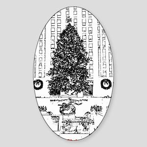 """New York """"Rockefeller"""" Christmas Oval Sticker"""