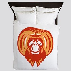 Orangutan Bearded Front Retro Queen Duvet