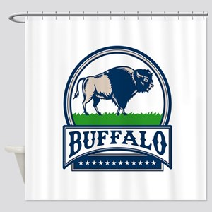American Bison Buffallo Banner Circle Woodcut Show