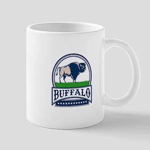American Bison Buffallo Banner Circle Woodcut Mugs