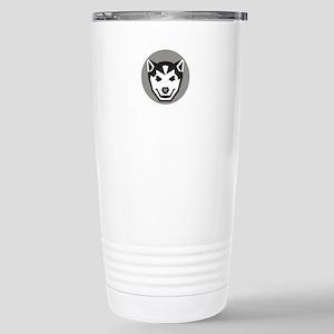 Baby Wolf Cub Head Circle Retro Travel Mug