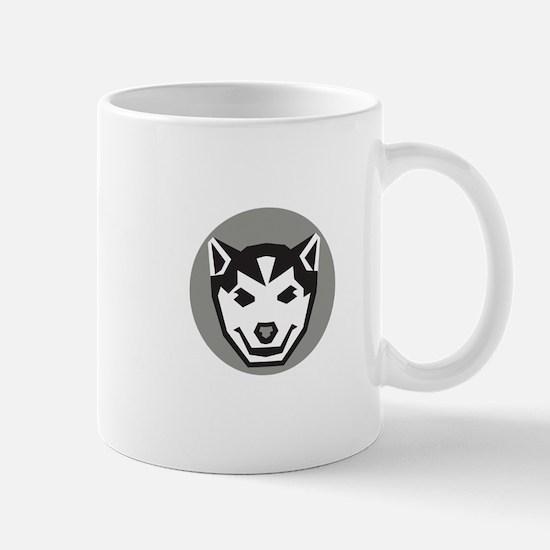 Baby Wolf Cub Head Circle Retro Mugs