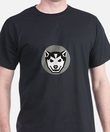 Baby Wolf Cub Head Circle Retro T-Shirt
