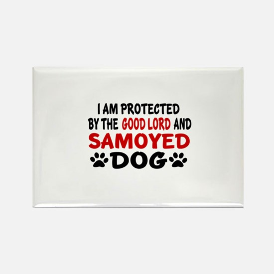 Protected By Samoyed Rectangle Magnet