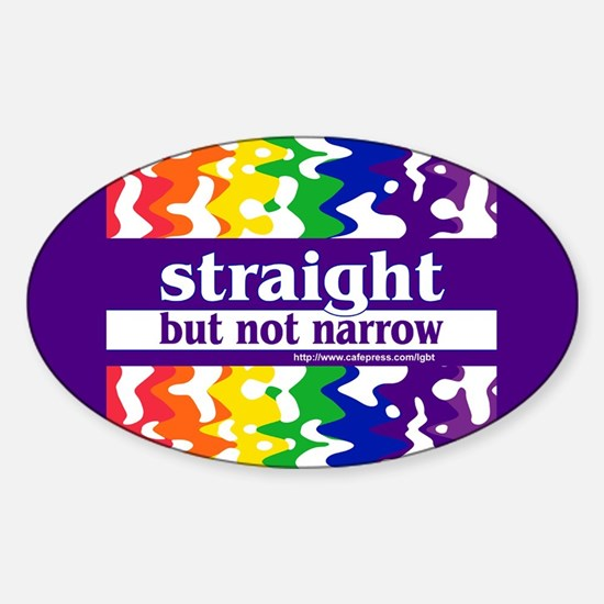 straight but not narrow Oval Decal