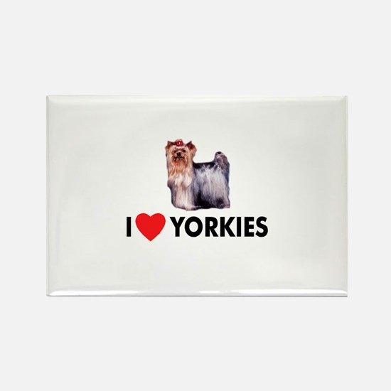 I Love Yorkies Rectangle Magnet