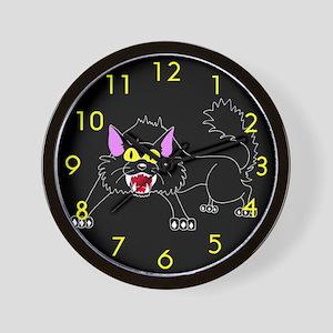Scary Black Cat Wall Clock