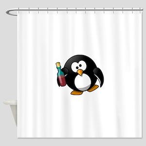 Wine Loving Penguin Shower Curtain