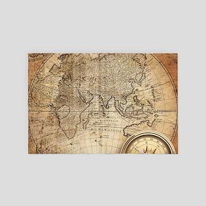 Vintage Map 4' X 6' Rug
