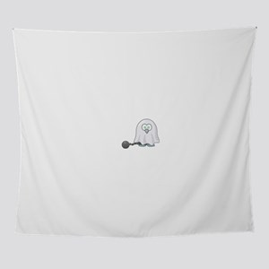 Penguin Ghost with Ball & Chain Wall Tapestry