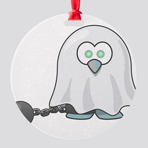 Penguin Ghost with Ball & Chain Round Ornament