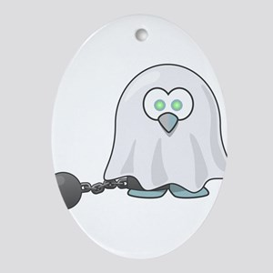 Penguin Ghost with Ball & Chain Oval Ornament