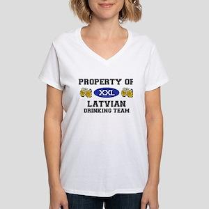 Latvian Women's V-Neck T-Shirt
