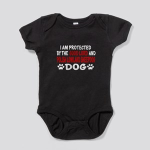 Protected By Polish Lowland Sheepdog Baby Bodysuit