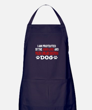 Protected By Polish Lowland Sheepdog Apron (dark)
