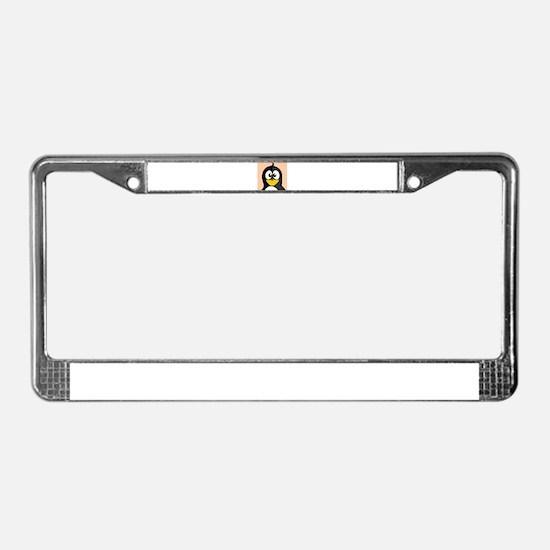 Cross-Eyed Penguin License Plate Frame