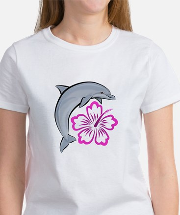Dolphin Hibiscus Pink Women's T-Shirt