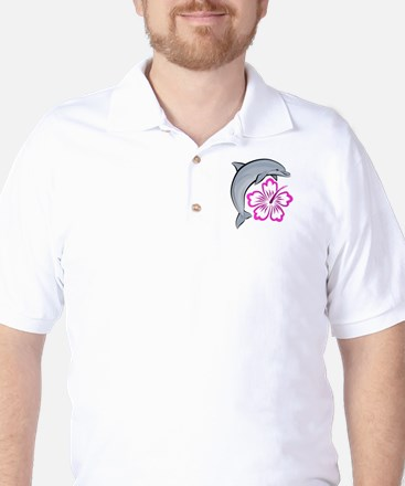 Dolphin Hibiscus Pink Golf Shirt