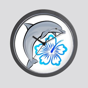 Dolphin Hibiscus Blue Wall Clock