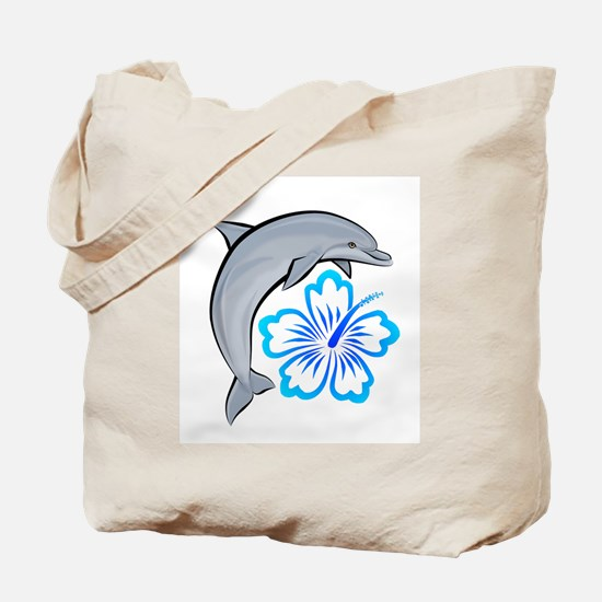 Dolphin Hibiscus Blue Tote Bag