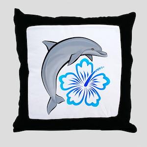 Dolphin Hibiscus Blue Throw Pillow